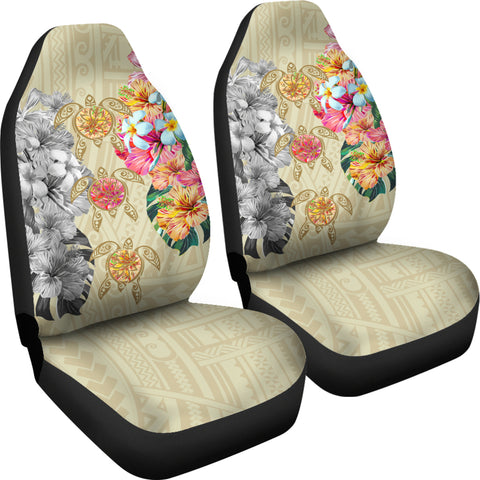 Image of Hawaii Polynesian Flowers Swimming Turtles Car Seat Covers - AH - J5