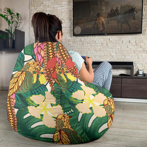 Image of Hawaii Tropical Leaves Flowers And Birds Floral jungle  Bean Bag Chair - AH - J71 - Alohawaii