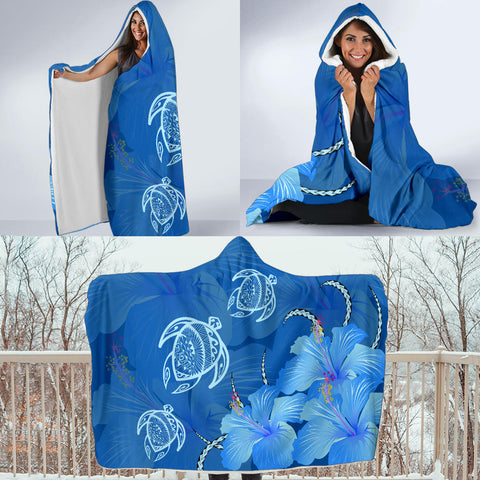 Hawaii Blue Hibiscus Turtle Polynesian Hooded Blanket - AH - J4