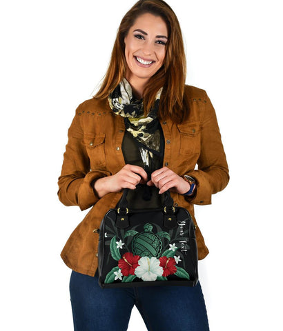 Image of Personalized - Hawaii Turtle Hibiscus Plumeria Shoulder Handbag - AH - J4 - Alohawaii