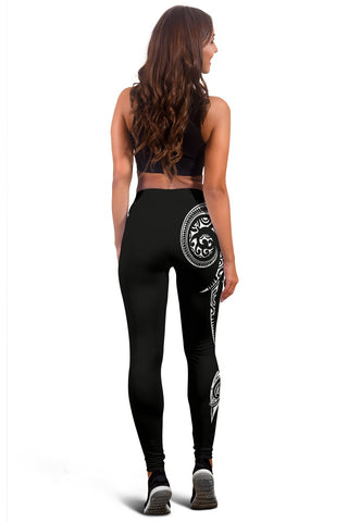 Image of Hawaii State Tattoo Swirly Polynesian White Kanaka Women's Leggings - AH - JG1