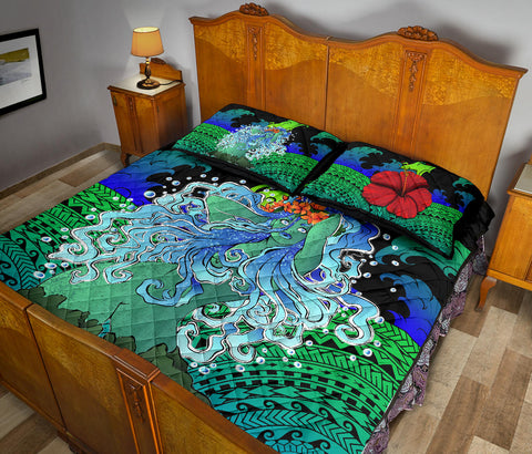 Polynesian Hibiscus Dancing Girl Quilt Bed Set - AH - Bang Style - J5