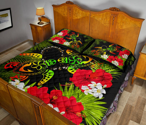 Hawaii Couple Turtle Hibiscus Tropical Valentine Quilt Bed Set - Levi Style - AH - J2