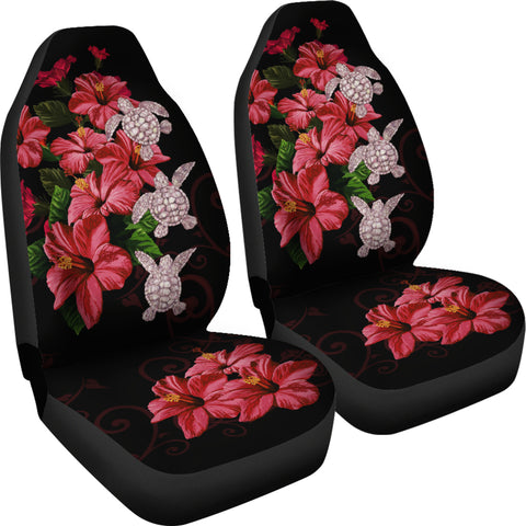 Image of Hawaii Red Hibiscus Turtle Car Seat Covers - AH - Ray Style - J5 - Alohawaii
