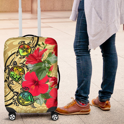 Hawaiian Marble Turtles Hibiscus Luggage Covers - AH J0 - Alohawaii
