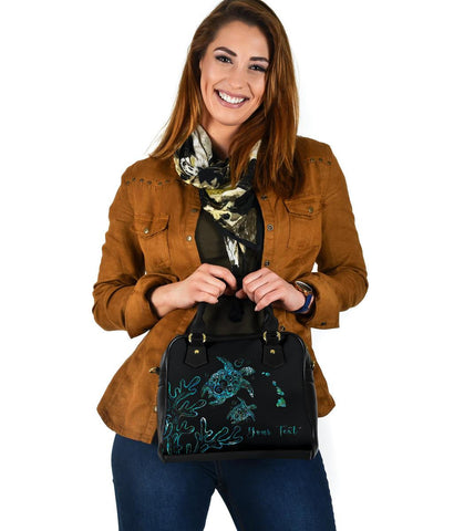 Personalized - Hawaii Turtle Ohana Paua Shell Shoulder Handbag - AH - J4