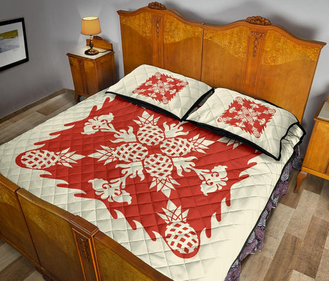 Hawaiian Quilt Bed Set Pineapple Pattern - White Mix Red - AH - J2