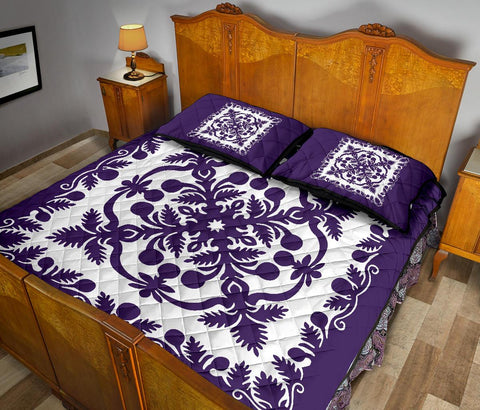 Hawaii Quilt Bed Set Royal Pattern - Purple And White - AH - J6 - Alohawaii