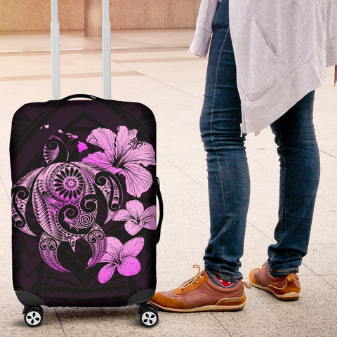 Hibiscus Plumeria Mix Polynesian Pink Turtle Luggage Covers - AH - J1