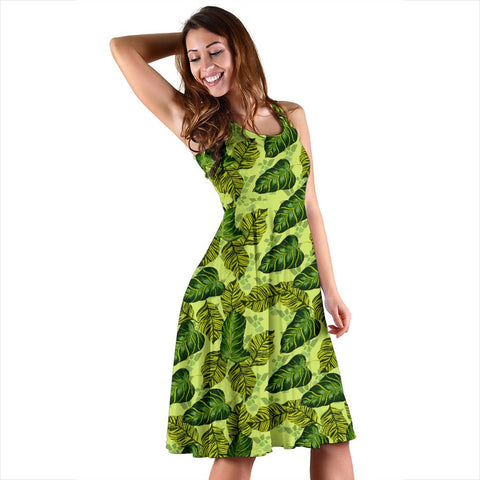 Hawaii Tropical Green Midi Dress   - AH - J71