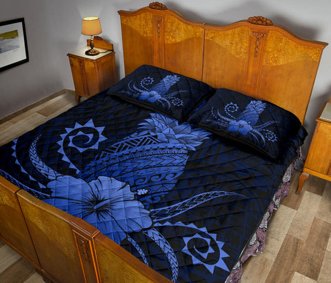 Hawaii Polynesian Pineapple Hibiscus Quilt Bed Set - Zela Style Blue - AH - J4