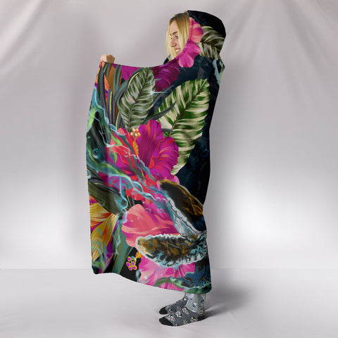 Hawaii Map Turtle Swimming Hibiscus Plumeria Moana Hooded Blanket - AH - J5