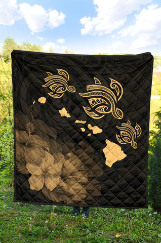 Hawaii Hibiscus Map Polynesian Ancient Gold Premium Quilt - AH J14 - Alohawaii
