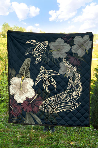 Hawaiian Tropical Hibiscus Turtle Shark Aumakua Premium Quilt - AH