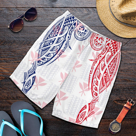 Hawaiian Kanaka Men's Shorts Flag Nation Demodern White AH J1