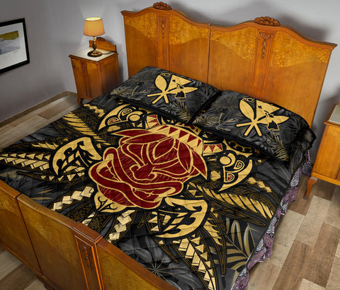 Hawaii Turtle Polynesian Tropical Gold Quilt Bed Set - Alone Style - AH - J4