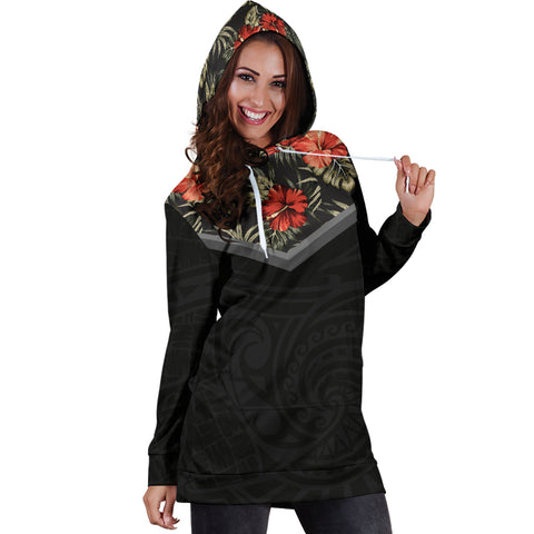 Image of Hawaiian Hibiscus Hoodie Dress