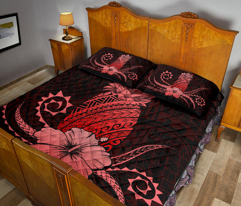 Hawaii Polynesian Pineapple Hibiscus Quilt Bed Set - Zela Style Red - AH - J4