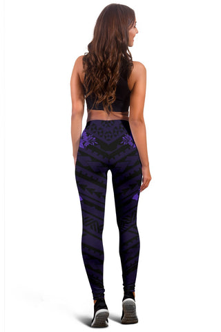 Image of Hawaii Hibiscus Banzai Surfing Women's Legging Purple - AH - J5