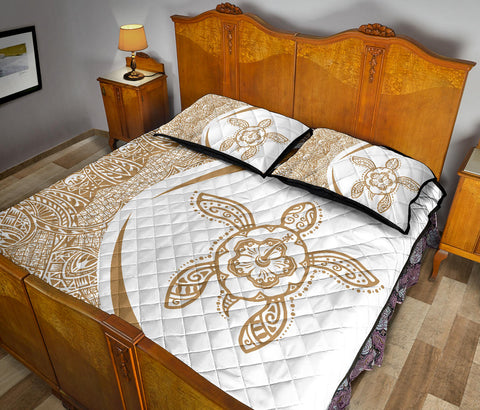 Hawaiian Polynesian Turtle Quilt Bed Set-Circle Style Gold And White - AH - J7