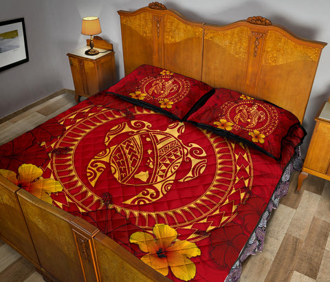 Hawaii Turtle Polynesian Quilt Bed Set - Oil Style - AH - J4