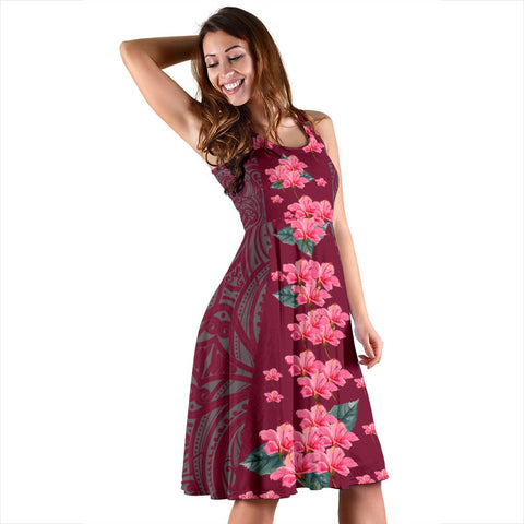 Hawaii Hibiscus Flowers Polynesian - Hawaiian Midi Dress - Curtis Style - AH - J2