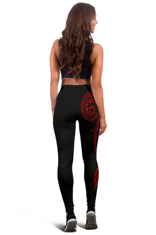 Hawaii State Tattoo Swirly Red Polynesian Women's Leggings - AH - JG1