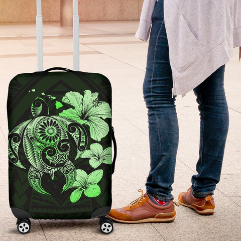 Hibiscus Plumeria Mix Polynesian Green Turtle Luggage Covers - AH - J1 - Alohawaii