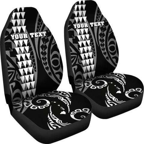 Image of Personalized Hawaii Car Seat Covers Kakau Large Polynesian White AH J1