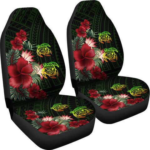 Image of Hawaii Car Seat Cover - Turtle Hibiscus Pattern Hawaiian Car Seat Cover - Green - AH - J2