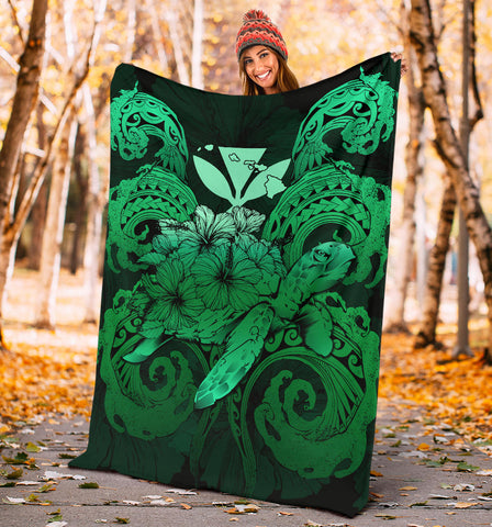 Image of Hawaii Turtle Wave Polynesian Premium Blanket - Hey Style Green - AH - J4