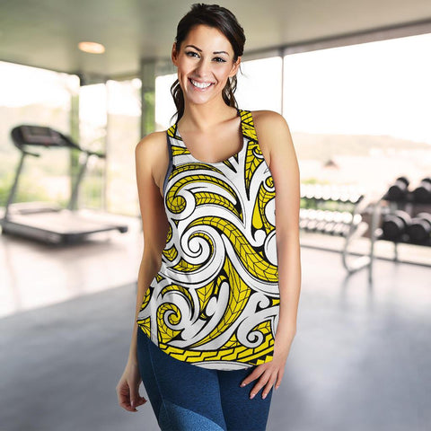 Polynesian Maori Ethnic Ornament Yellow Women's Racerback Tank Top - AH - J6