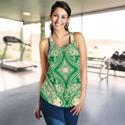 Image of Polynesian Plumeria Mix Green Women's Racerback Tank Top - AH - J6