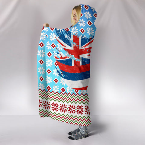 Hawaii Flag Santa Claus Pattern Christmas Hooded Blanket