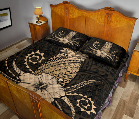 Image of Hawaii Polynesian Pineapple Hibiscus Quilt Bed Set - Zela Style Gold - AH - J4 - Alohawaii
