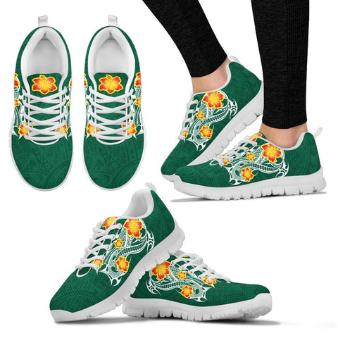 Image of Hawaii Polynesian Hibiscus Sneakers - JVT Style - Green - AH - J6 - Alohawaii