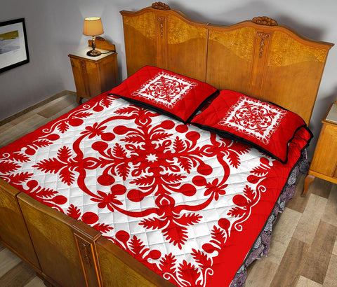 Hawaii Quilt Bed Set Royal Pattern - Red And White - AH - J6 - Alohawaii