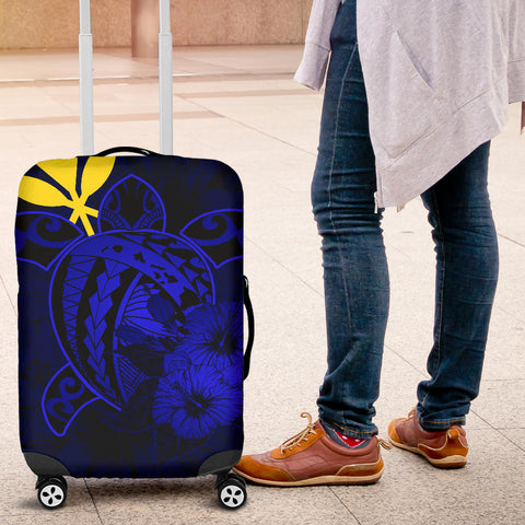 Hawaii Hibiscus Luggage Cover - Harold Turtle - Blue - AH J9