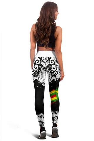 Image of Polynesian Kanaka Flag Leggings - Nora Style - White - AH J9 - Alohawaii