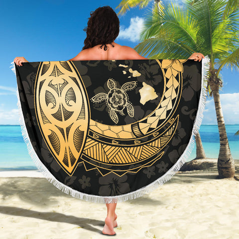 Image of Hawaii Hibiscus Map Polynesian Beach Blanket - AH - J7 - Alohawaii