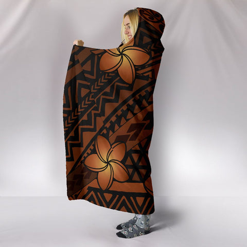 Hawaii Mix Polynesian Turtle Plumeria Hooded Blanket - AH - Nick Style - Orange - J5