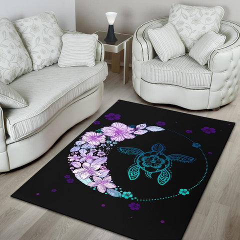 Hawaiian Hibiscus Plumeria Turtle Colorful Flower Rug - AH J6 - Alohawaii