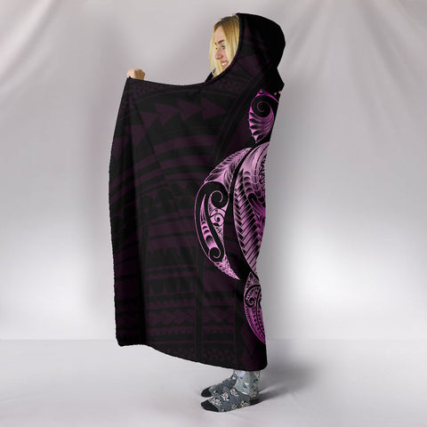 Image of Hibiscus Plumeria Mix Polynesian Pink Turtle Hooded Blanket - AH - J1 - Alohawaii