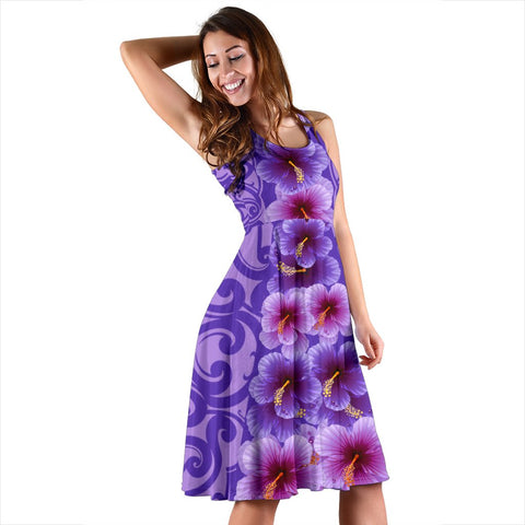 Hawaii Hibiscus Polynesian - Hawaiian Midi Dress - Curtis Style - AH - J2