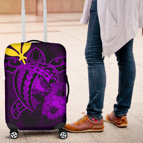 Hawaii Hibiscus Luggage Cover - Harold Turtle - Purple - AH J9