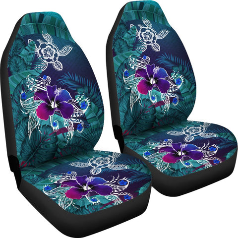 Alohawaii Car Seat Covers - Hawaii Turtle Flowers And Palms Retro - AH J8 - Alohawaii