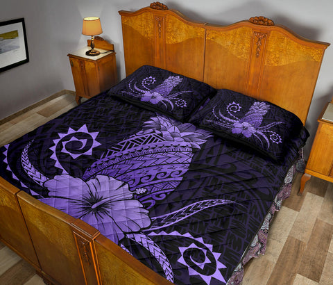 Hawaii Polynesian Pineapple Hibiscus Quilt Bed Set - Zela Style Purple - AH - J4