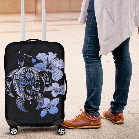 Hibiscus Plumeria Mix Polynesian Blue Turtle Luggage Covers - AH - J1