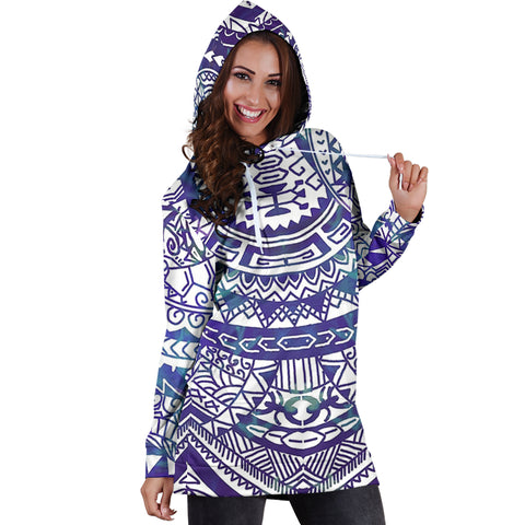Polynesian Tribal Hoodie Dress Blue - AH - J7