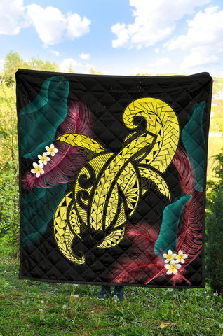 Hawaii Turtle Polynesian Tropical Premium Quilt - Ghia Style Yellow - AH - J4